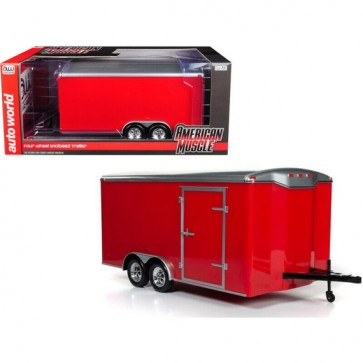 1:18 Enclosed Trailer Rood