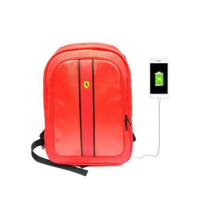 Scuderia Ferrari Backpack With USB Connector Red