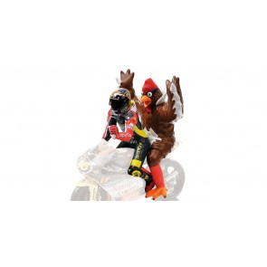 Valentino Rossi + Chicken Figurine - GP 250 Barcelona 1:12