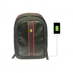 Scuderia Ferrari Backpack With USB Connector Black