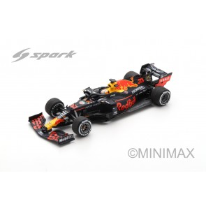 1:43 Aston Martin Red Bull Racing RB16 No.33 Max Verstappen Winner 70th Anniversary GP 2020  + Inclusief pitbord