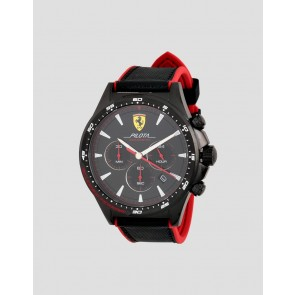 Ferrari Black Pilota Chrono Black/Red Nylon Strap