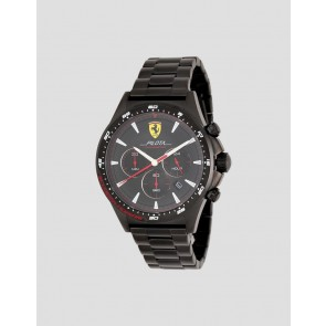 Ferrari Black Pilota Chrono Black Steel Strap